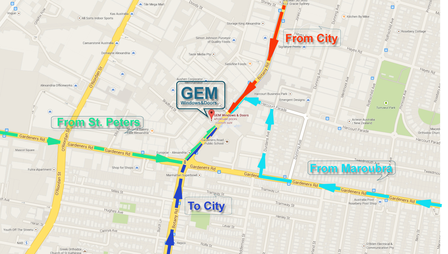 Gem Windows And Doors Alexandria Showroom Location Map